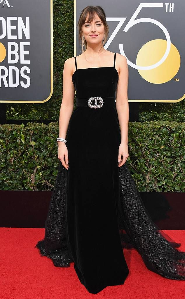 Dakota Johnson from 2018 Golden Globes Red Carpet Fashion