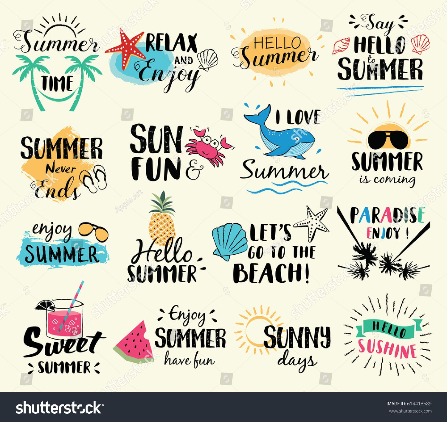 Summer labels, logos, hand drawn tags and elements set for