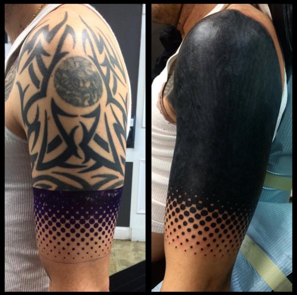 15 Striking Blackout Tattoos That Almost Look Unreal Blackout Tattoo Cover Tattoo Cover Up Tattoos