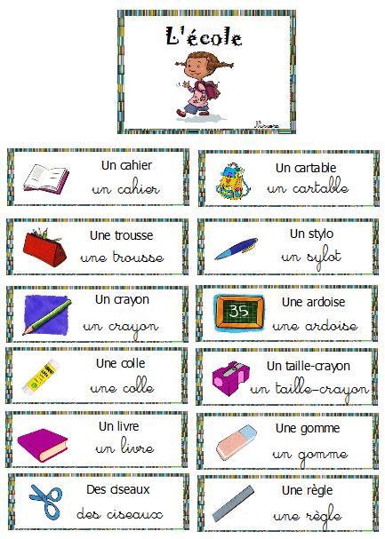 vocabulaire autour de l 39 cole rentr e scolaire pinterest french resources language and. Black Bedroom Furniture Sets. Home Design Ideas