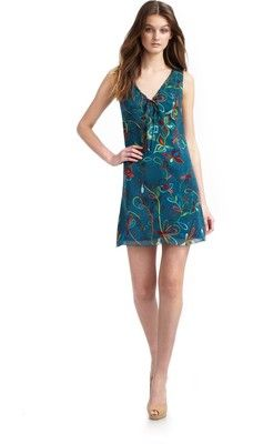 Jerome L'Huillier Silk Shift Dress/Butterfly Print