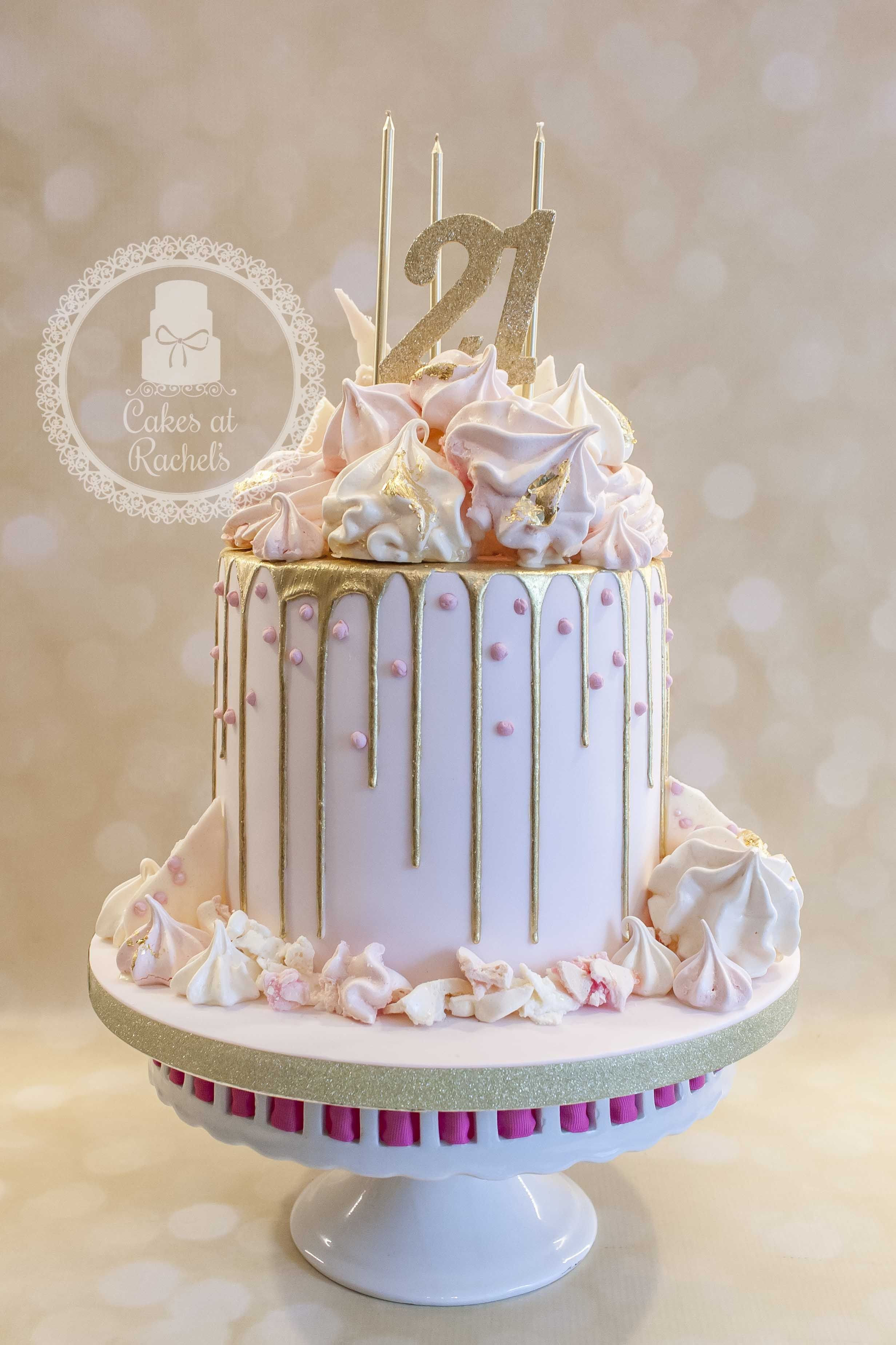 Pastel pink and gold drip cake for