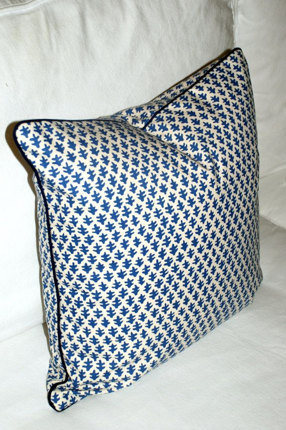 Sister Parish Burmese Pillow Cover in Blue. Modern Coastal