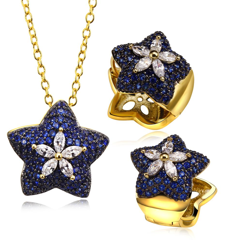 Party accessories blue star women jewelry sets with cubic zircon