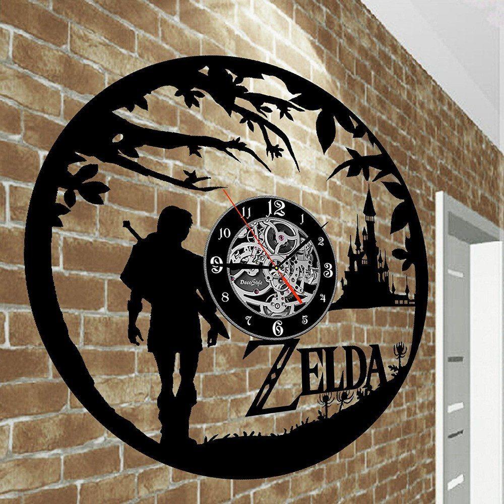 New Art CD Vinyl Disc Wall Clock Saat Legend of Zelda Handmade Black