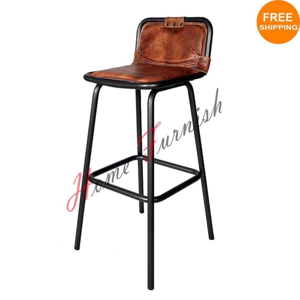 Vintage Style Industrial Bar Counter Stool Leather Seat Restaurant