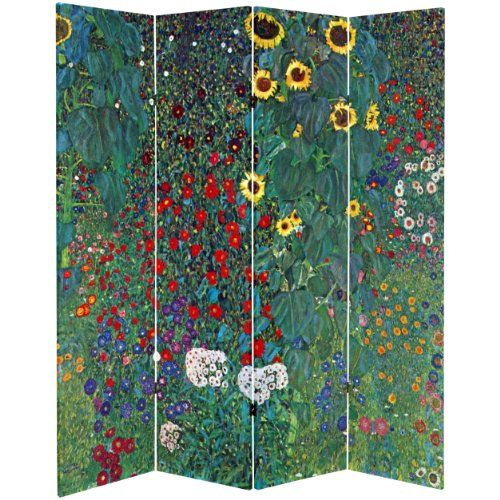 Oriental Furniture 6 ft Tall Double Sided Works of Klimt Room