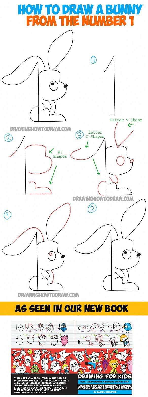 How To Draw A Cartoon Bunny Rabbit From The Number One  Drawing Tutorial  For Kids
