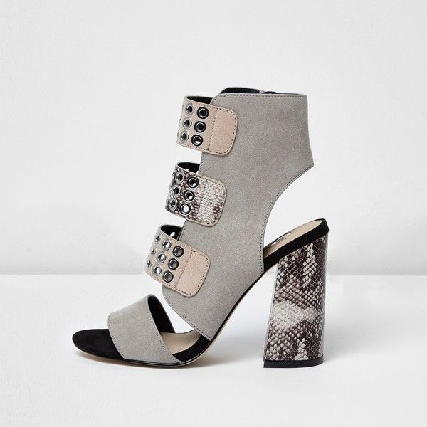 48d6fb218e7d River Island Grey snake strappy eyelet block heel sandals ( 110) ❤ liked on Polyvore  featuring shoes
