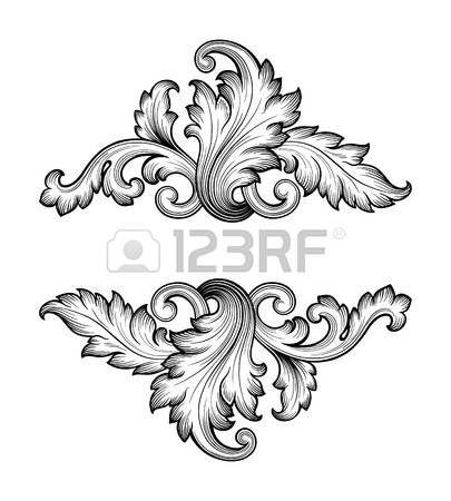 Alte Barocke Rahmen Scroll Ornament Gravur Grenze Retro Muster Im