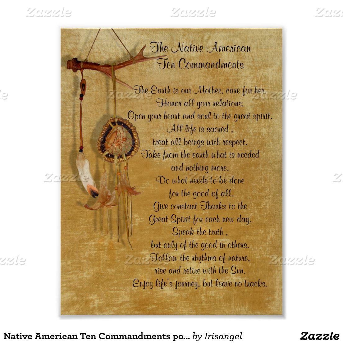 Native American Ten Commandments Poster  Inspirational Images