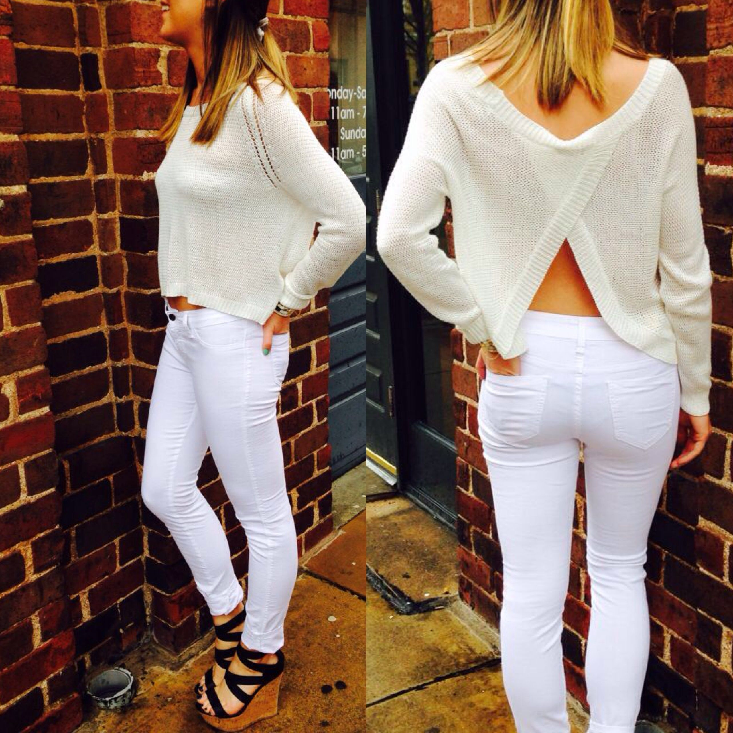 This Pinterest inspired all white look is great for Spring! Our open-back cropped sweater paired with white denim and wedges is perfect for shopping & lunch downtown! Or throw it on with some high-wasted shorts for a more casual look. Either way this look is guaranteed to turn heads! Shop the entire outfit in store or call to order 706-363-1322 #allwhiteeveryhing #whiteonwhite