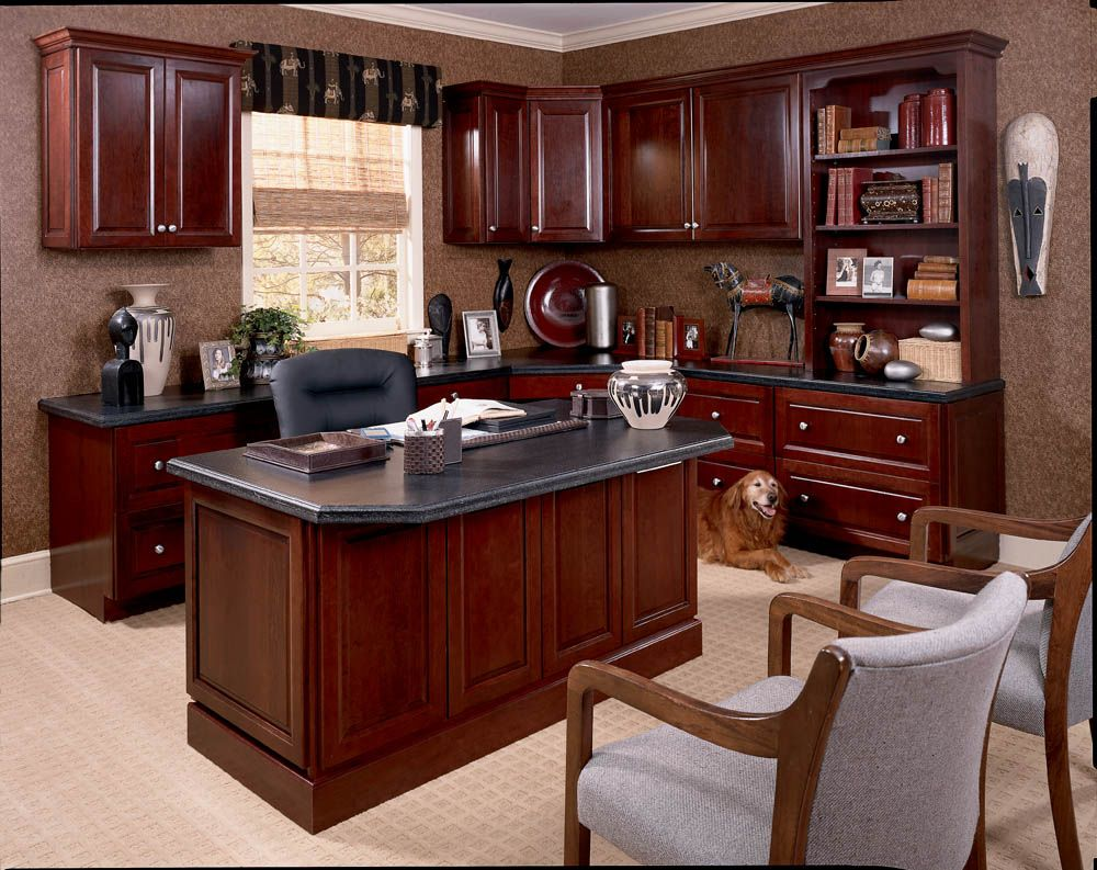 A Cherry Wood Office Space Home Office Furniture Traditional