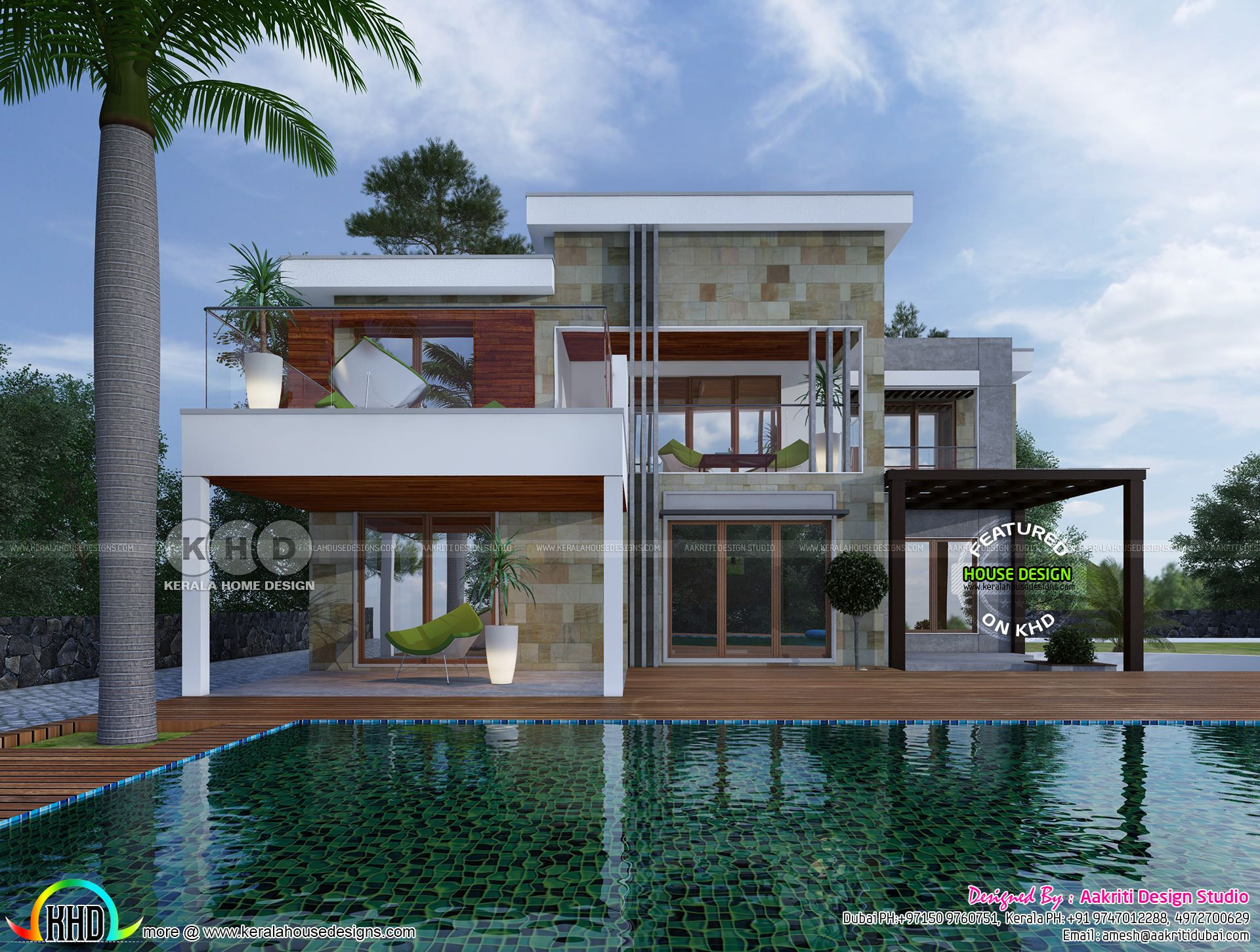 4 Bedroom Flat Roof House With Pool Duplex House Design Pool House Plans Flat Roof House