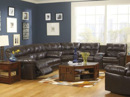 The Kennard Chocolate Reclining Sectional By Ashley Takes Stylish Contemporary Design And Leather Living Room Set Living Room Leather Buy Living Room Furniture