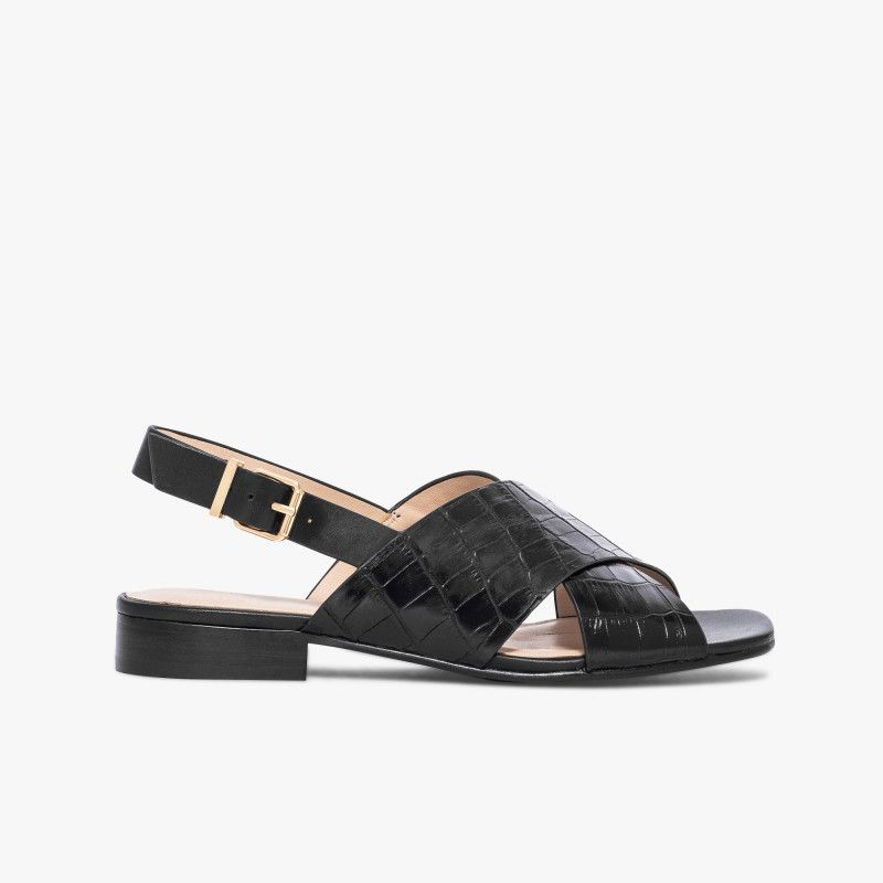 Croco Noir Avec En Croisées Brides Cuir Larges Sandale Aspect PTZOukXi