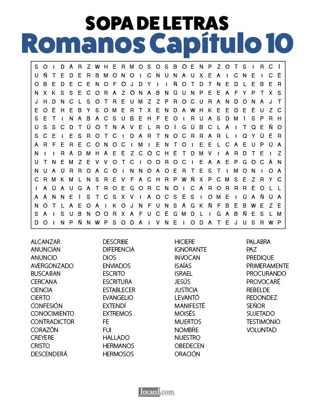 Sopa De Letras De La Biblia Gratis Romanos Chapter 10 Gratis Listo Para Imprimir En 2020 Sopa De Letras Biblia Gratis Letras