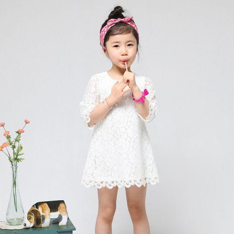 New fashion girls lace dresses,children clothing beautiful white ...