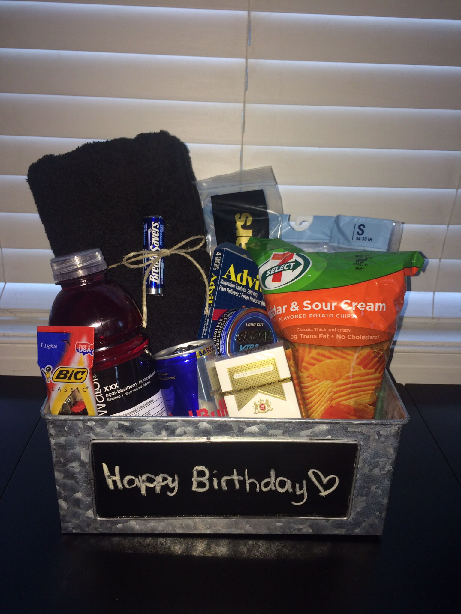 Birthday basket I made for my boyfriend with all his