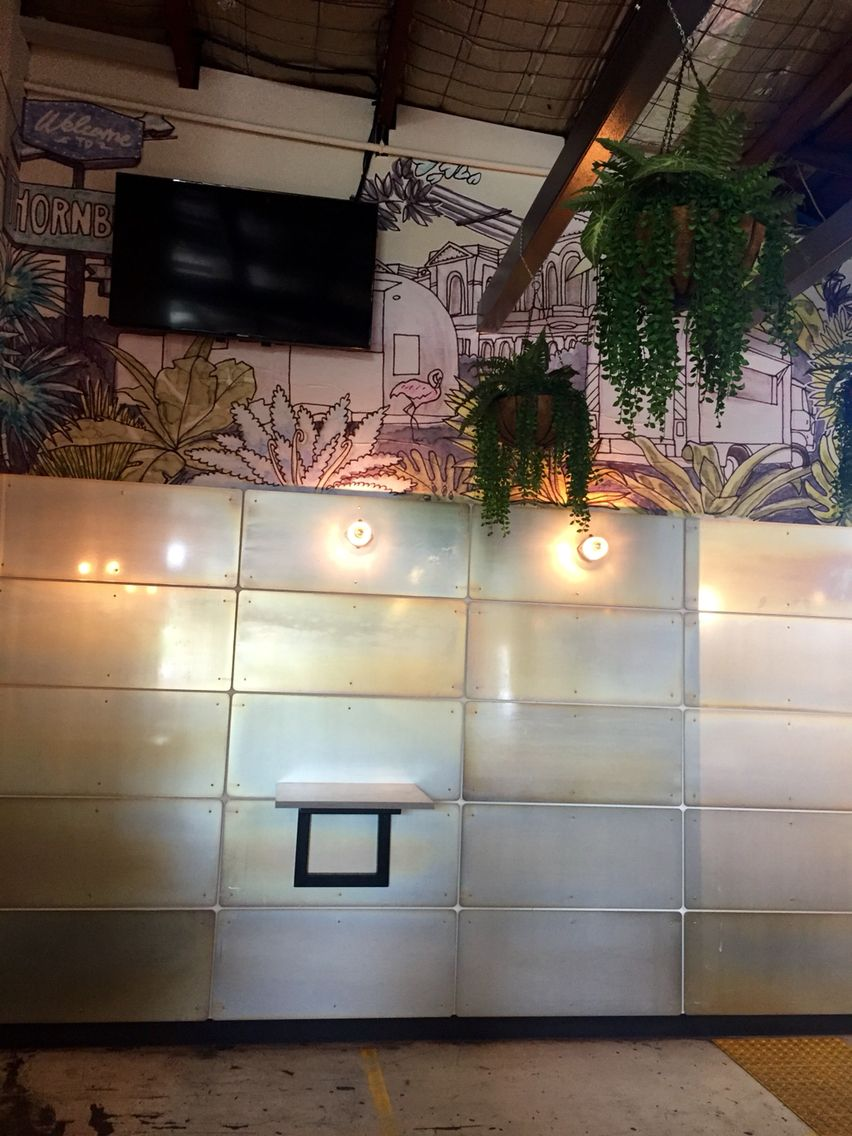 photo 6. pressed metal tiles as a feature wall at the thornbury