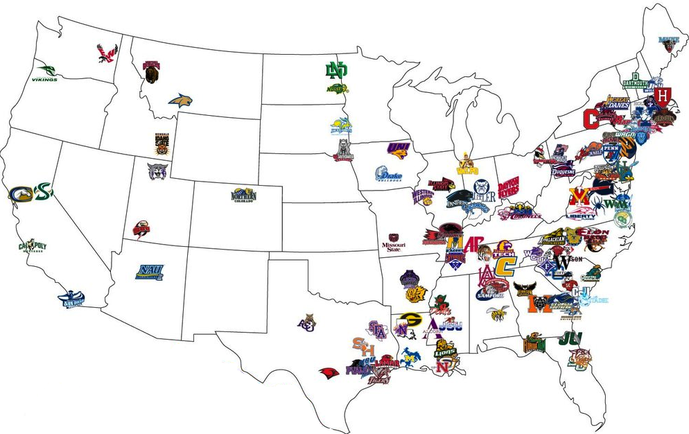 Fcs Map Football Program Football College Football Teams