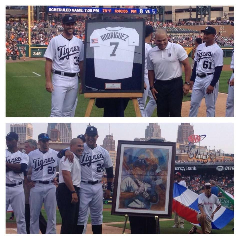 The Tigers honored Pudge Rodriguez before today's
