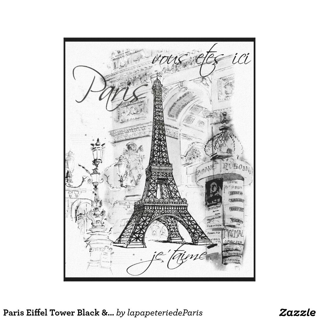 Paris Eiffel Tower Black White Collage Scene Canvas Print