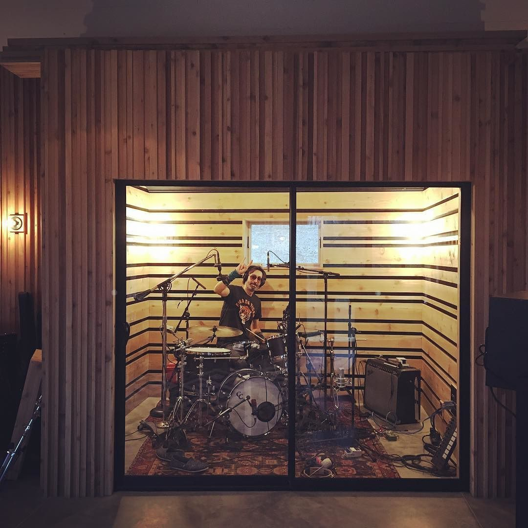 A drummer's drummer in his new booth :) by aarondessner