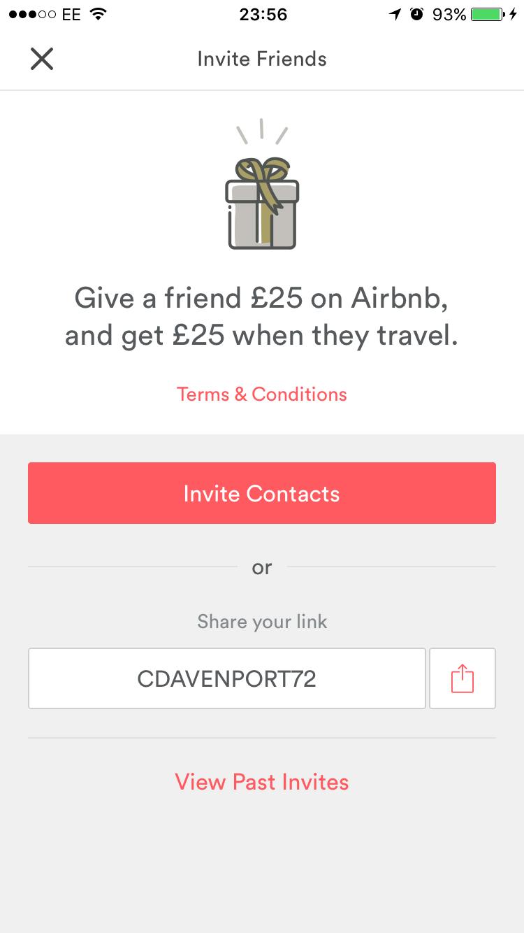 Air bnb money back code. Airbnb design, Friend referral