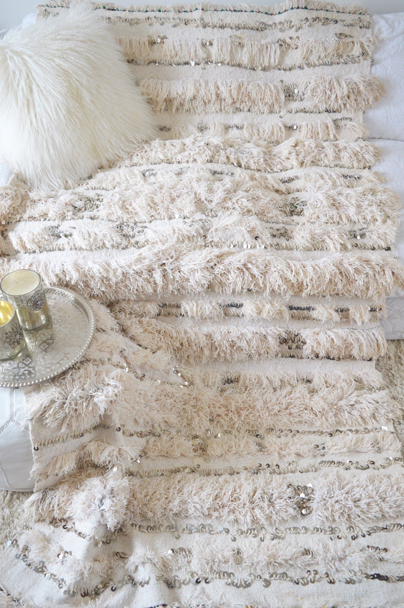 Vintage White Moroccan Wedding Blanket Handira Throw Moroccan Wedding Blanket Wedding Blankets Moroccan Wedding
