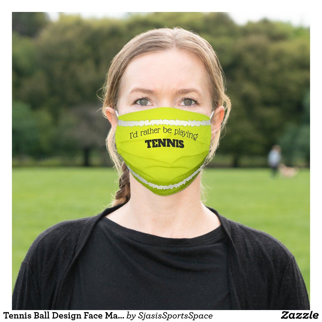 Tennis Ball Design Face Mask Zazzle Com In 2020 Mask Face Mask Face