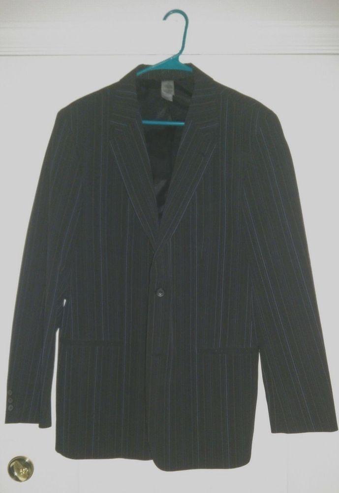 Claiborne Men's Black/Blue/Gray Pin Stripe Suit Size Jacket 42L Pants 38/34 #Claiborne #TwoButton