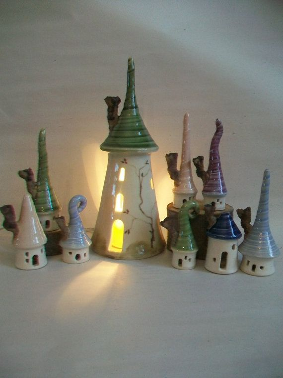 Fairytale Tower and Village - You Choose 5 Houses - Rapunzel - Night Light - Fairy House - Wheel Thrown - Ready to Ship Now #towers