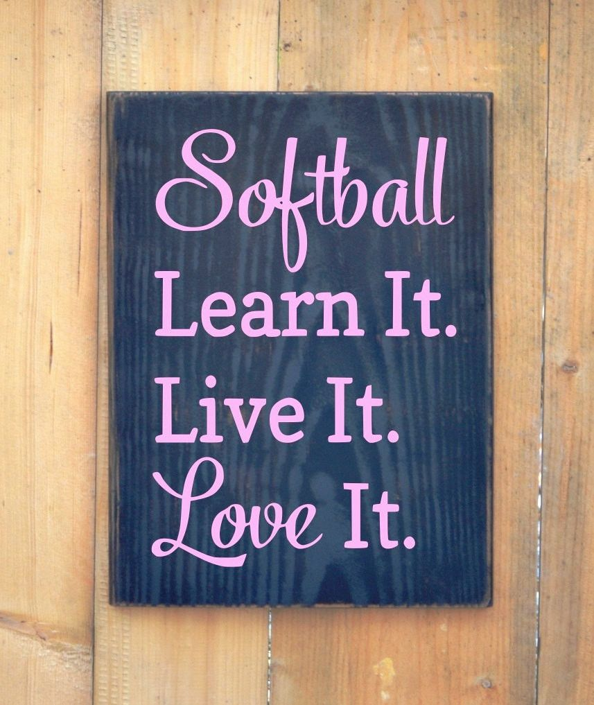 Softball Quote Sign Customize Colors S Room Wall Decor Baseball Wood