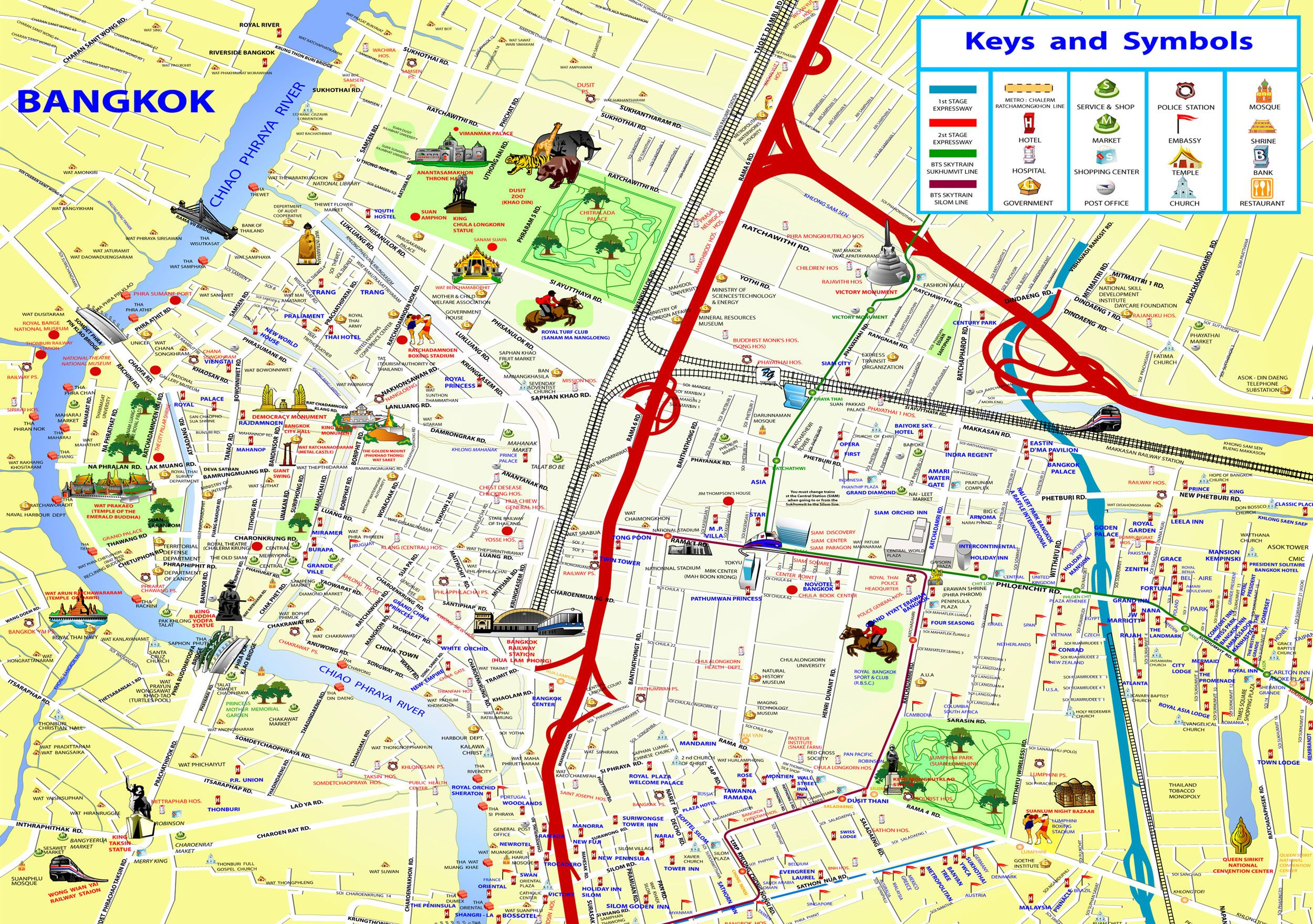 bangkok thailand attractions map chinatown – Tourist Attractions Map In Thailand