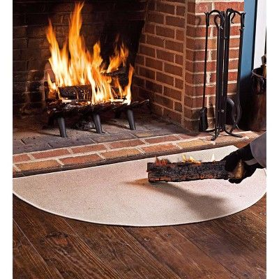 Flame Resistant Half Round Hearth Fireproof Rug Tan