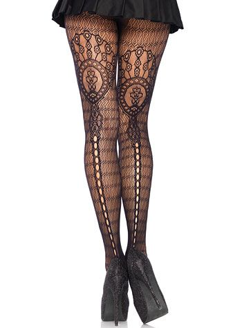 4f1733f51d2c5 Vintage Victorian Plume Lace Pantyhose Stockings  14.00 AT Vintagedancer.com