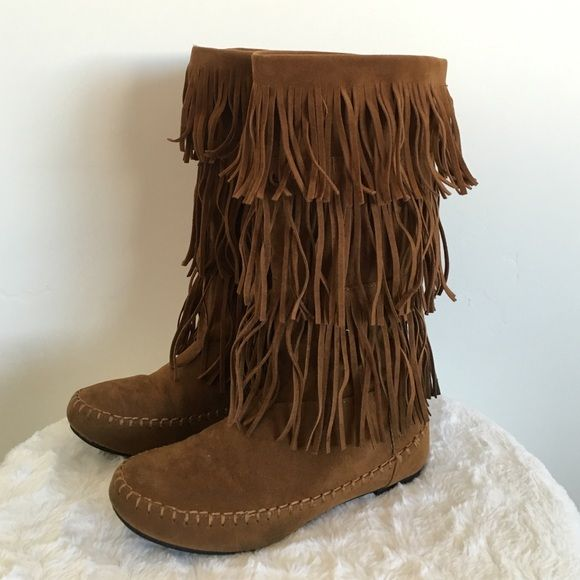 Fringe Tiered Tall Moccasin Boots 13.5