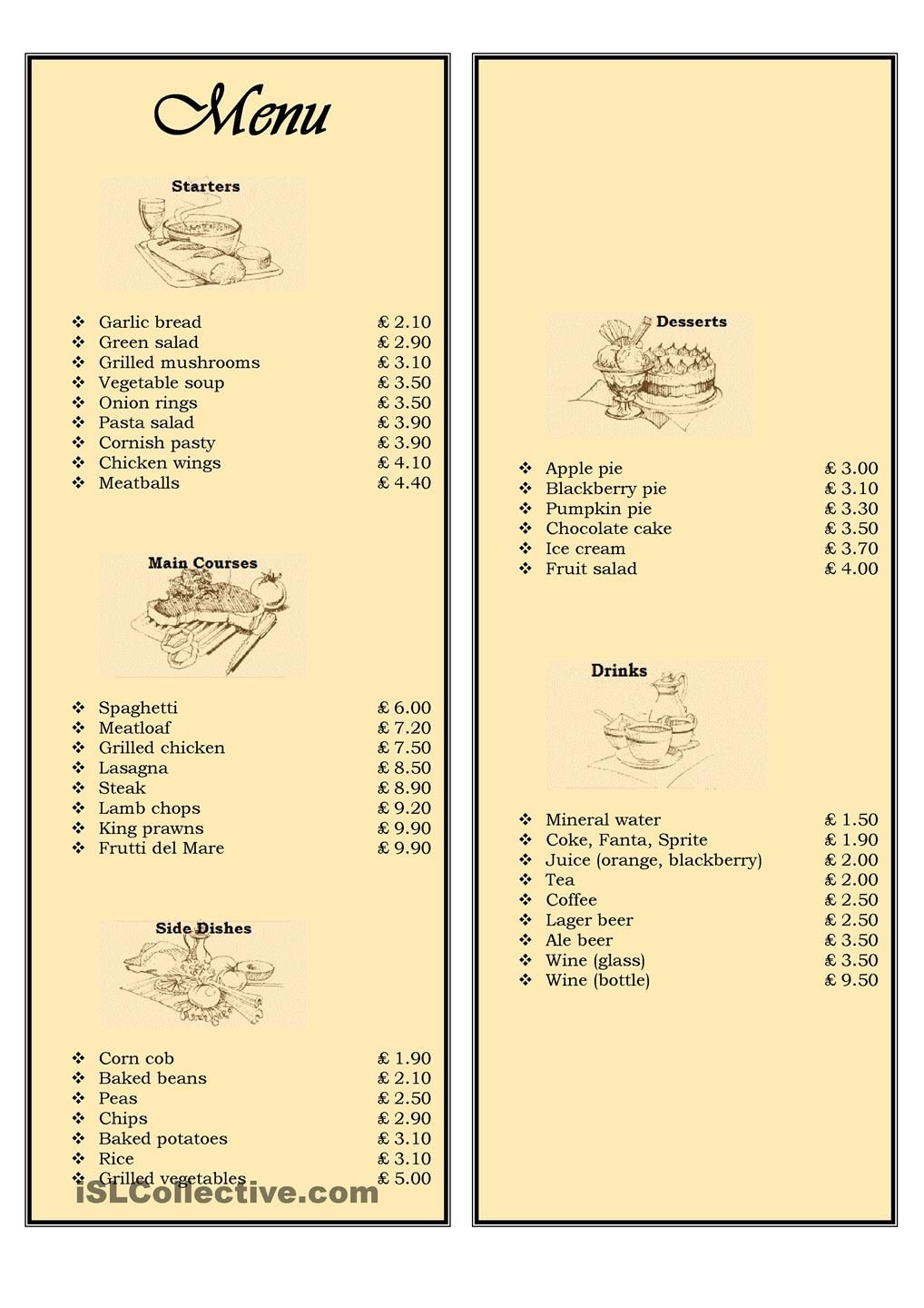 menu in a restaurant ordering food every teacher