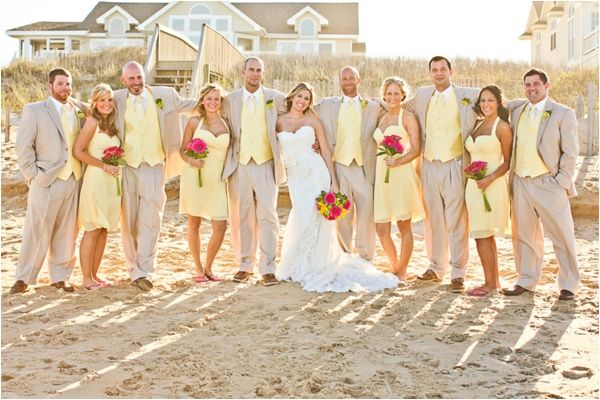 Bridesmaid Dresses With Khaki Suits Pastel Bridal Party Summer Southern Shores North Caro Beach Wedding Suits Beach Theme Wedding Beautiful Beach Wedding