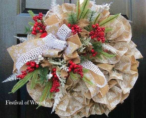 Christmas Burlap Wreath  Winter Burlap Wreath by FestivalofWreaths