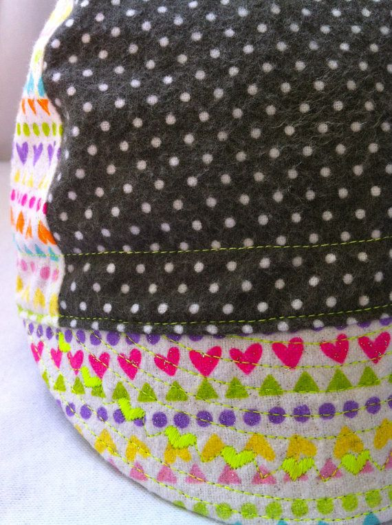 6de8ccebab9130 Organic polka dot flannel & sparkly heart flannel cycling style hat ...