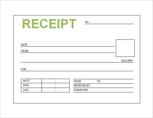 Book Receipt Template  Receipt Template Doc For Word Documents In