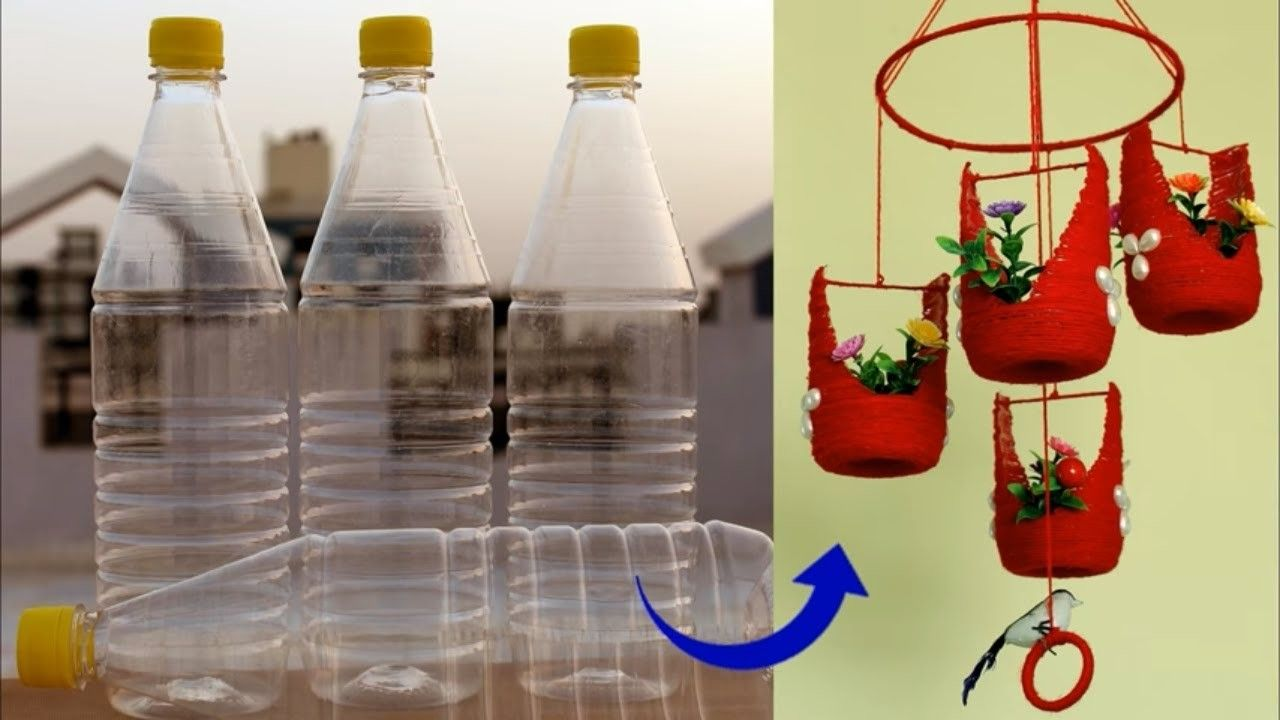 Handmade Wall Hanging Idea Using Plastic Bottles  Best out of