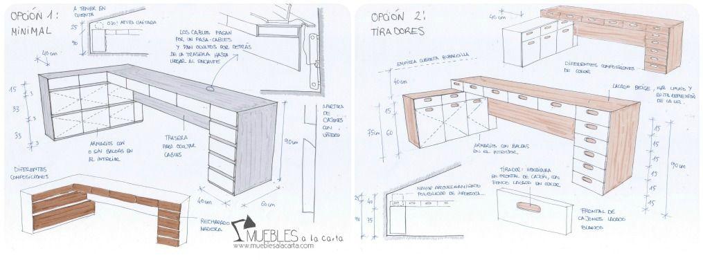 02 escritorio a medida bocetos12 decoraci n pinterest for Medidas estandar de escritorios de oficina