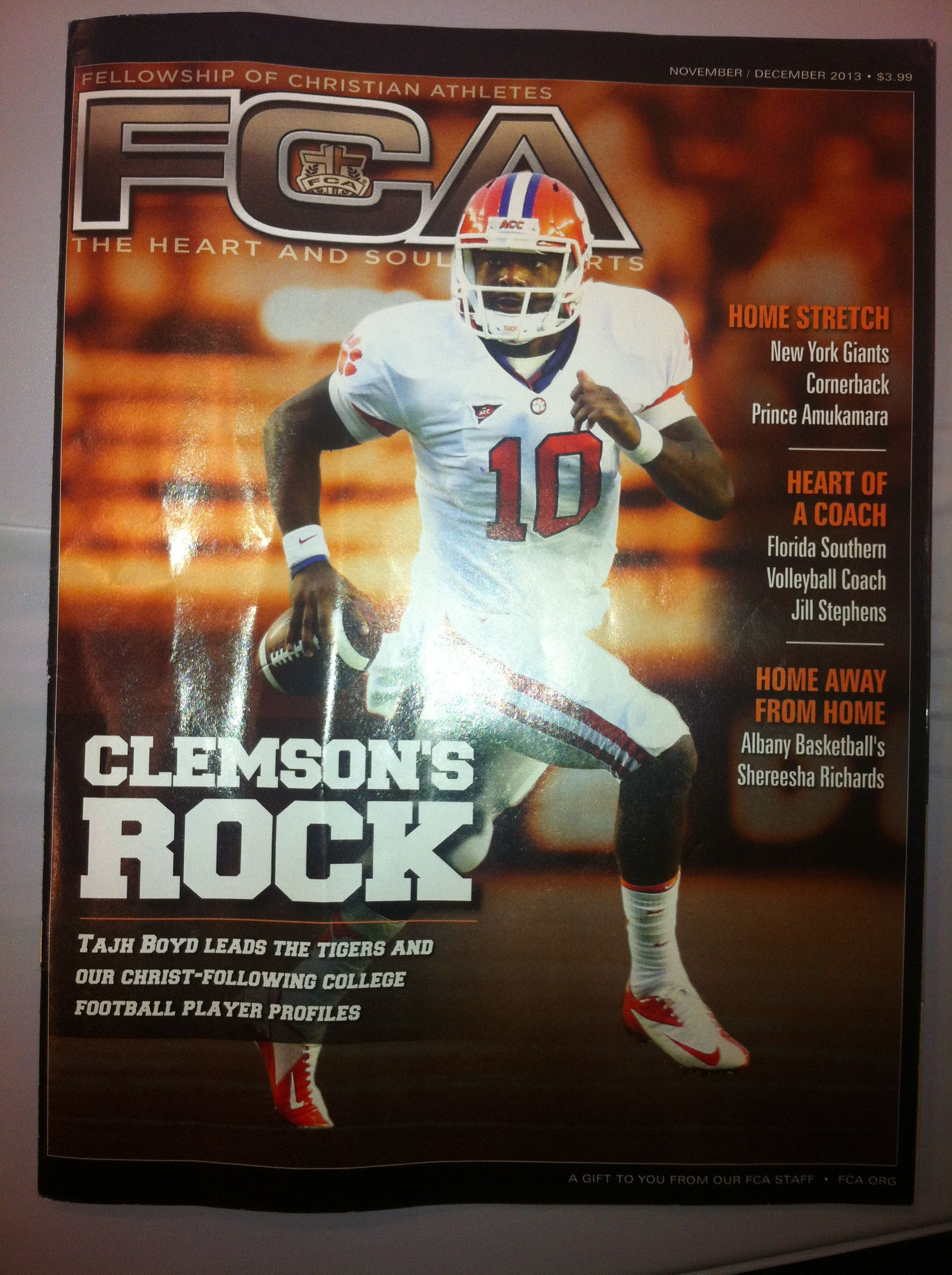 Tajh Boyd Cover Boy Fca Magazine Fall 2013 Christian Athletes Coaching Volleyball Clemson Football