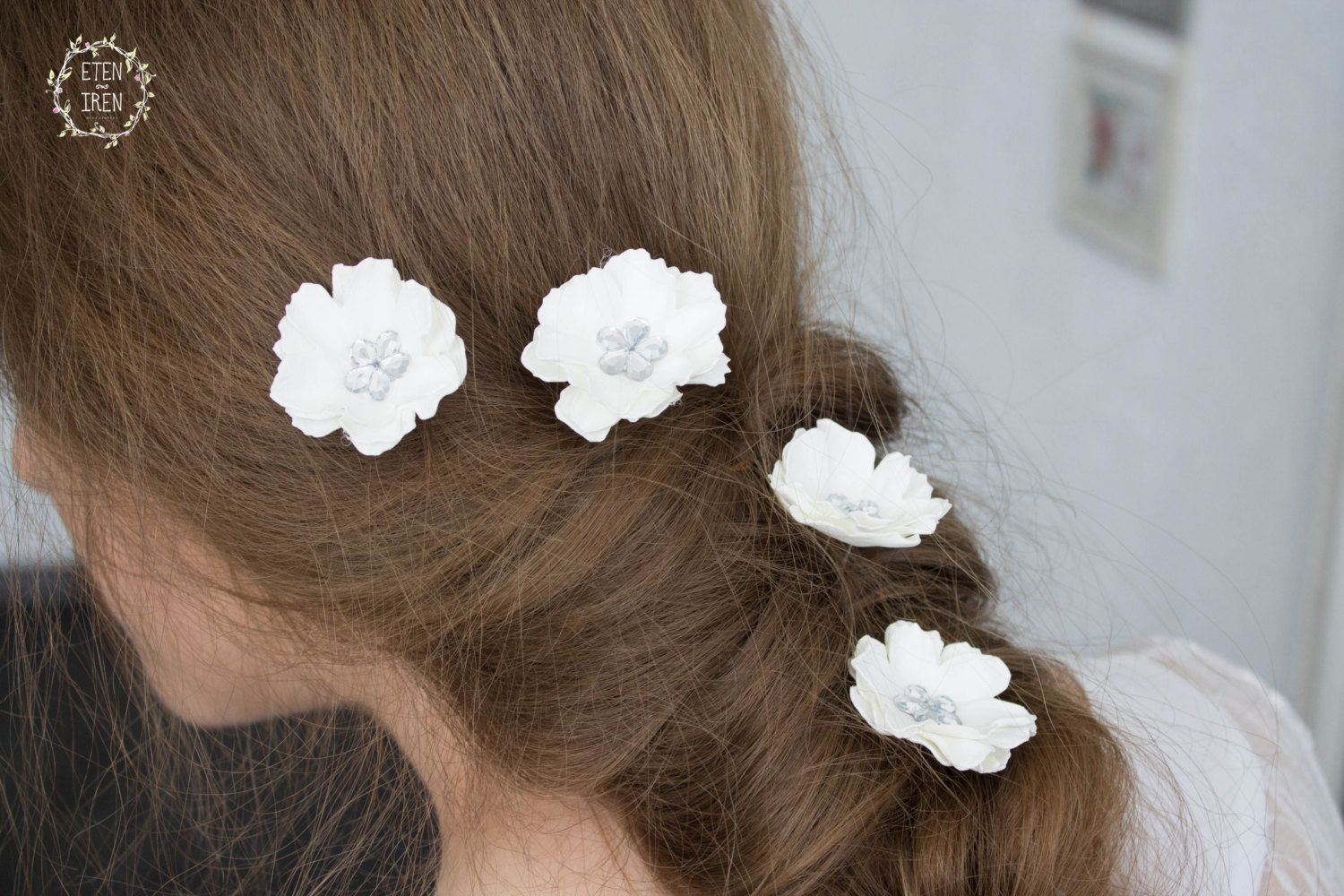 White Silver Flower Hair Pins Small Hair Flowers Set Of 5