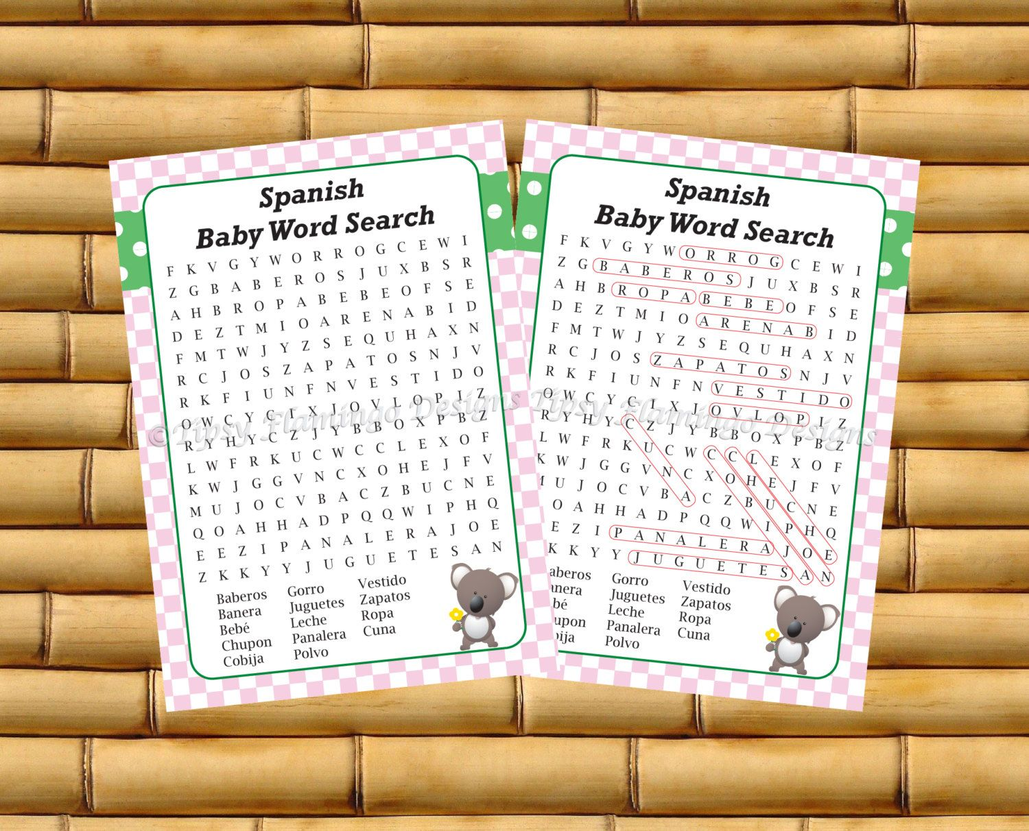 Word Search Spanish Baby Shower Baby Shower Game Espanol Pink