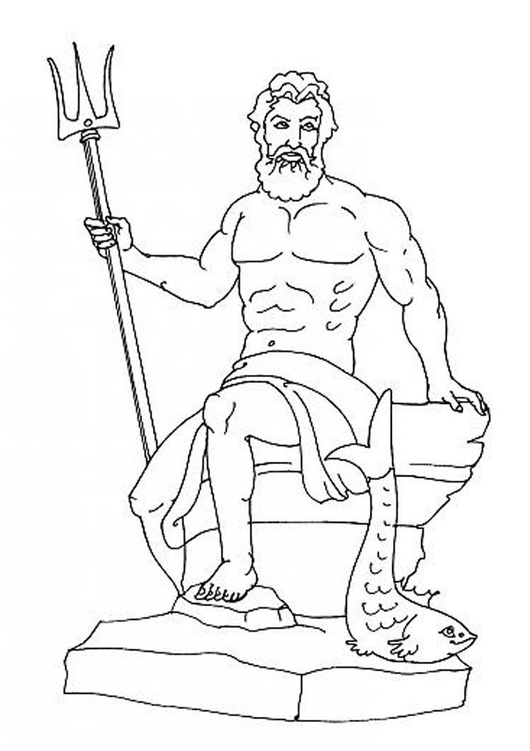 Printable coloring pages greek mythology - Poseidon Coloring Page Source_lrw Jpg 749 1060 Greek Godscoloring