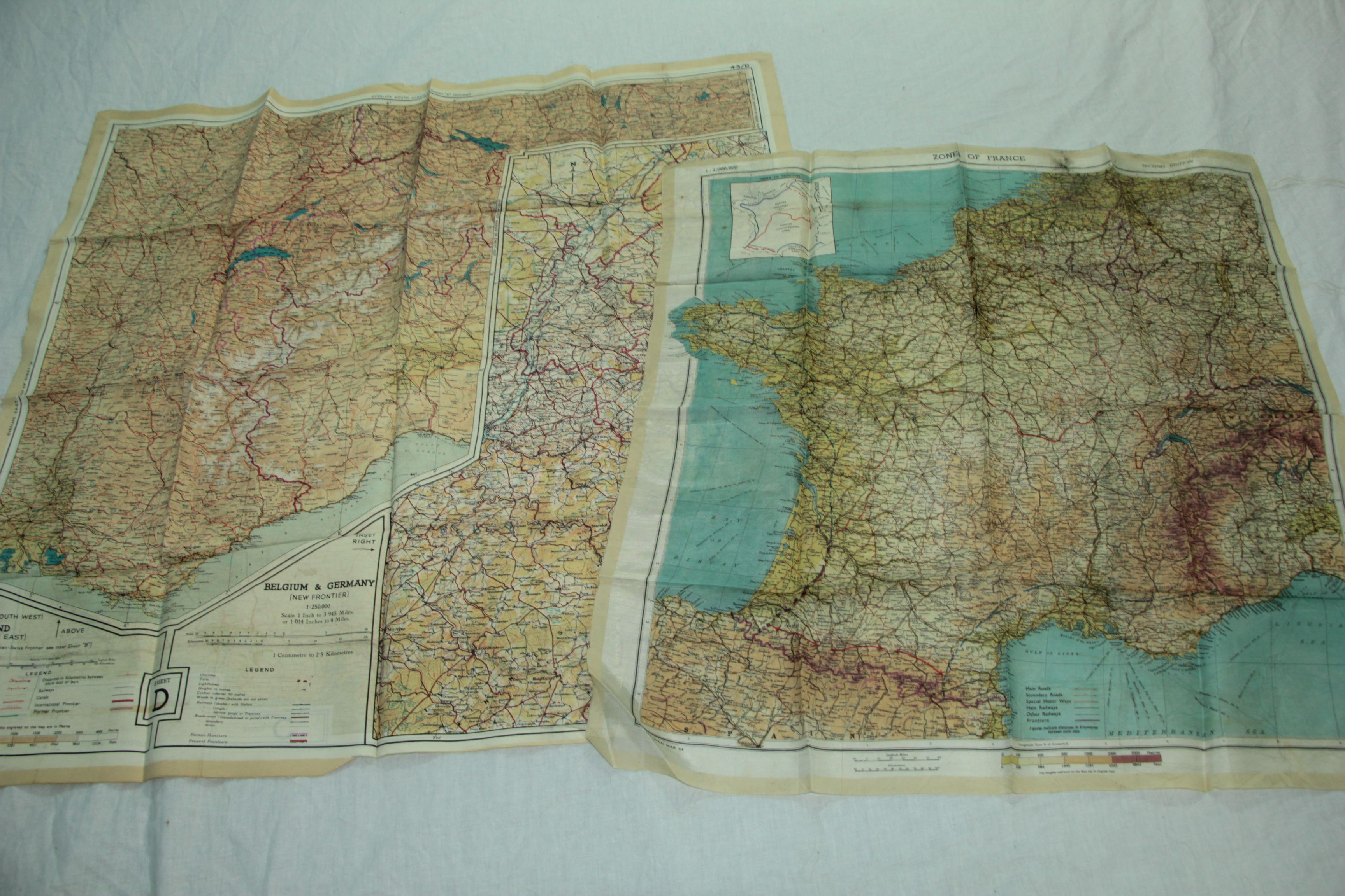 Map France 945.Invasion Maps Of Germany And France Printed On Silk The Army Used